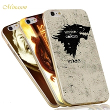 Minason Jon Snow Stark Wolf  Winter is Comming The Game of Thrones Case For iPhone X 8 5 5S SE 6 6S 7 Plus Soft TPU Phone Cover