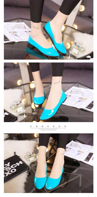 2018 Pu En Cuir Verni Chaussures Femme Chaussures Simples 4