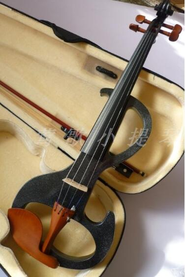 Handmade s-shaped black electronic violin With pearl powder overflow electric violin for music lovers free shipping<br><br>Aliexpress