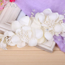 AOMU Simulated Pearl Beads Crystal Flower Wedding Hair Accessories Bride Bridal Flower Hair Comb Headpiece Hair Clips Pins Jewel(China)