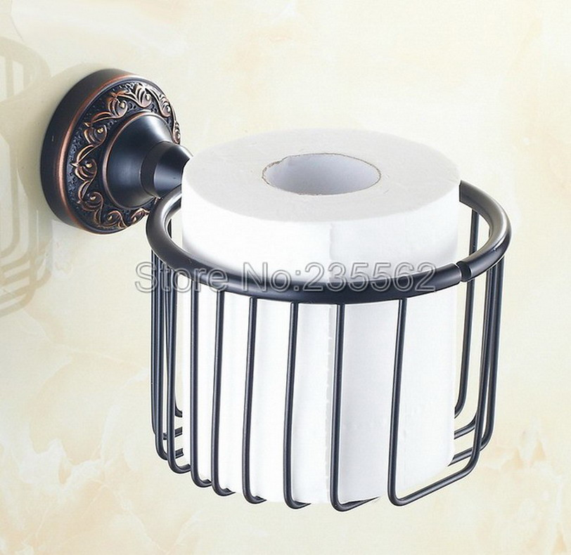 Black Oil Rubbed Brass Wall Mounted Bathroom WC Toilet Roll Paper Towel Holders Basket lba464<br>