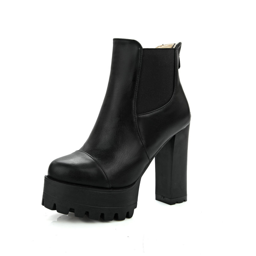 Fashion Zipper 2016 Round Toe PU Leather Women Shoes Square High Heel Ankle Boot Women Motorcycle Boot Size 34-43<br>