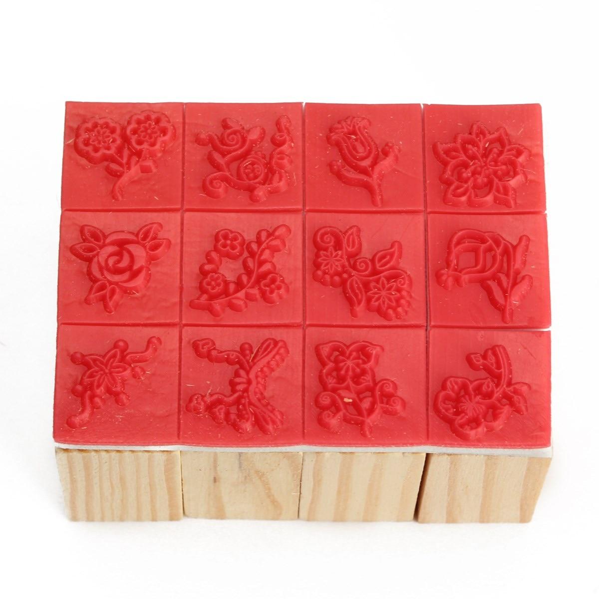 12pcs/set DIY Wooden Rubber Stamp Set Seal Flower DIY Diary Scrapbooking Gift Decor<br><br>Aliexpress
