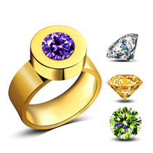JEXXI Woman Buy One Get 3 Replacement Crystal Change Color Ring New Fashion Gold Color Finger Jewelry Christmas Gift(China)