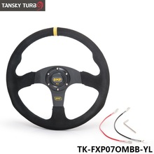 Tanksy - 14inch 350mm OM Racing Steering Wheel Auto Steering Wheel Suede leather Steering Wheel TK-FXP07OMBB-YL(China)
