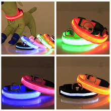 Wholesale 100pcs/lot Nylon Pet LED Dog Collar Flash Glowing Cat Dog Collars LED Dog Accessories EMS DHL Drop shipping resell CSV