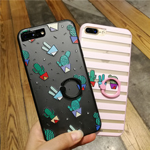 10 pcs/lot Cactus Finger Ring Case For Coque iPhone 6 6s 6plus 7 7plus Cases Capinha With Ring Stand Design TPU Silicone + PC(China)