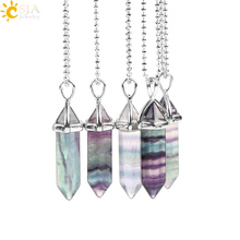 CSJA Fluorite Necklace Pendant Natural Gem Stone Quartz Bullet Hexagonal Point Pendulum Column Reiki Healing Chakra Jewelry E546
