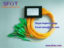 FTTH 1*32 PLC Fiber Optic Splitter, ABS Packing, with SC/APC SM connector, 2.0mm cable, can be used for GPON EPON OLT