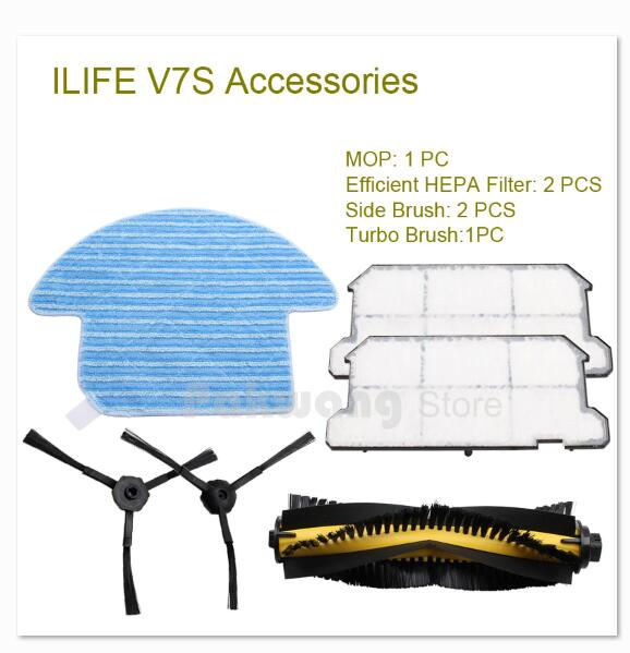 Original ILIFE V7S Robot Vacuum Cleaner Turbo brush and Mop 1 pc, Double pieces of Side brush and Efficient HEPA Filter <br>