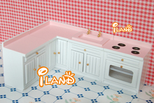 White& pink 1:12 Dollhouse Miniature 4 sets of kitchen furniture Fashion gift(China)