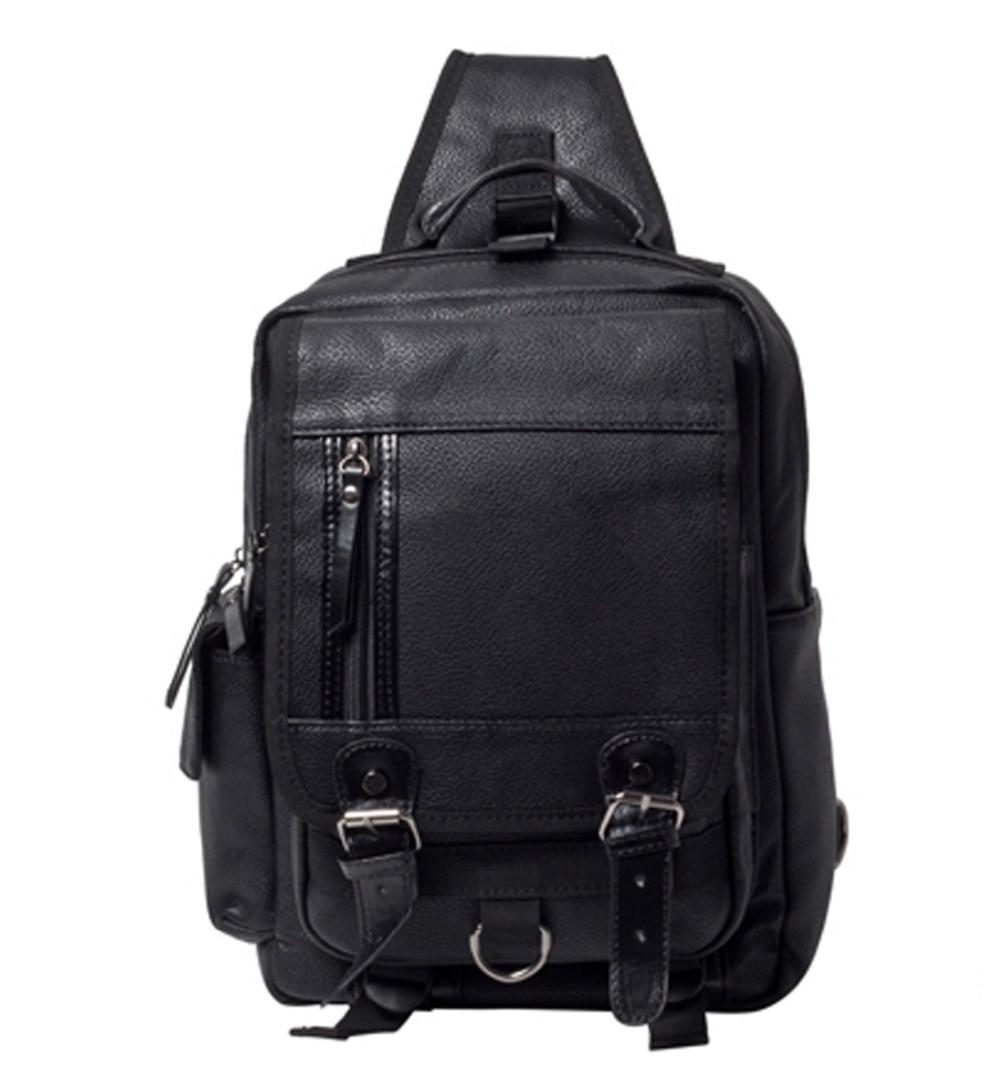 2018 New Men Chest Bag PU Leather Travel Riding Cross Body Messenger Shoulder Sling Back Pack Bags<br>