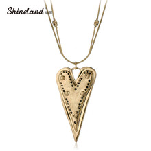 Shineland Vintage Long Statement Necklace Antique Gold/Silver Plated Two Layers Heart Shaped Sweater Chain Women Fashion Jewelry