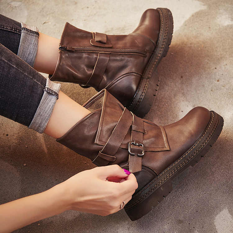 New Handmade Women Ankle Boots Shoes 100% Genuine Leather Vintage Zip Ladies  Motorcycle Boots Felt 0a3e913cb0b7