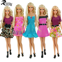 5 Pcs Fashion Handmade Dresses & Clothes Beautiful Clothing For Barbie Doll(China)