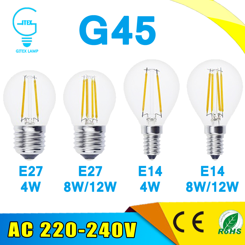 LED Bombillas Light E27 Dimmable Edison Glass Lamp G45 Led Filament Bulb E14 2W 4W 6W Antique Retro Vintage Led Bulb 220V(China)