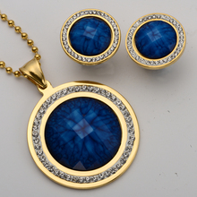 Necklace earrings sets women stainless steel jewelry gifts antique gold & silver color W crystal JN51 wholesale dropship