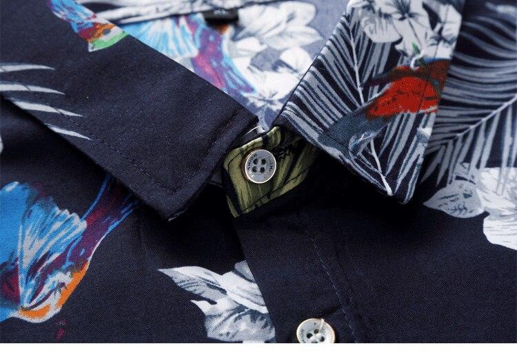 2018 Short Sleeve Mens Hawaiian Shirt Male Casual Camisa Masculina Flower Print Beach Summer Shirts Brand Clothing Men Plue Size 32