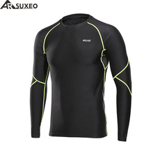 ARSUXEO 2018 Men's Winter Warm Up Fleece Compression Shirt Base Layer Running Long Sleeves Tights Workout GYM T Shirt U81S(China)