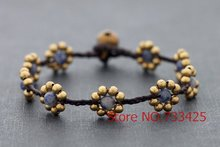 Sodalite Daisy Braided Bracelet with waxed cord weaved,thai style brass bracelet for women, 5pcs/lots free shipping(China)