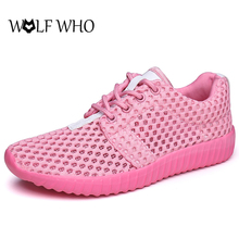 WOLF WHO Breathable Women Casual Shoes Women's Summer Footwear Lace-up Flat Shoes Women Zapatos mujer Loafers Sapato feminino