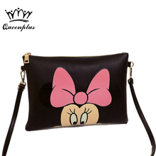 Women Hello Kitty Messenger Bag Minnie Mickey Bag Leather Handbags Ladies Cartoon Clutch Bag Bolsa Feminina Bolsa Female Handbag(China)