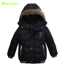 KEAIYOUHUO 2017 Winter Boys Jacket For Boys Thick Hooded Cotton-padded Clothes Baby Boy Coat Kids Jacket Children Outerwear Coat(China)