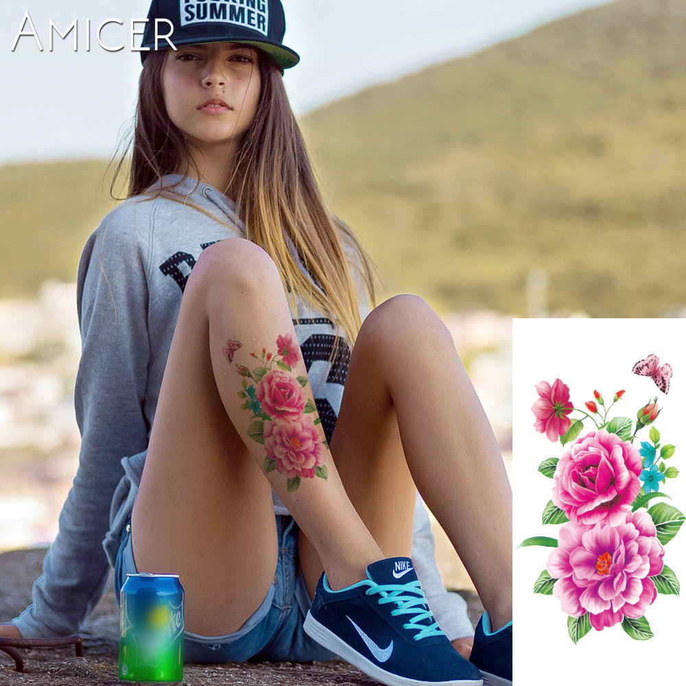 3D lifelike Cherry blossoms rose big flowers Waterproof Temporary tattoos women flash tattoo arm shoulder tattoo stickers 10