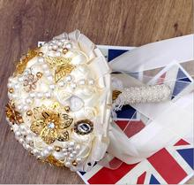 Artificial Wedding Flowers Bouquet Crystals Sparkling Bridal Bouquet Satin Beading Flowers Garden Church Beach Wedding