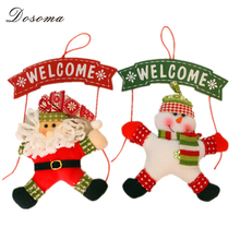 Xmas Wooden Christmas Welcome Board Sign Hanging Santa Claus/Snowman Doll Wall Door Ornament Decor - Dosoma Home Supplies Co.,Ltd. store