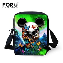 FORUDESIGNS Vintage Women&Men Messenger Bag 3D Cool Skull Printing Kindergarten Kids Small Crossbody Bag Children Shoulder Bag