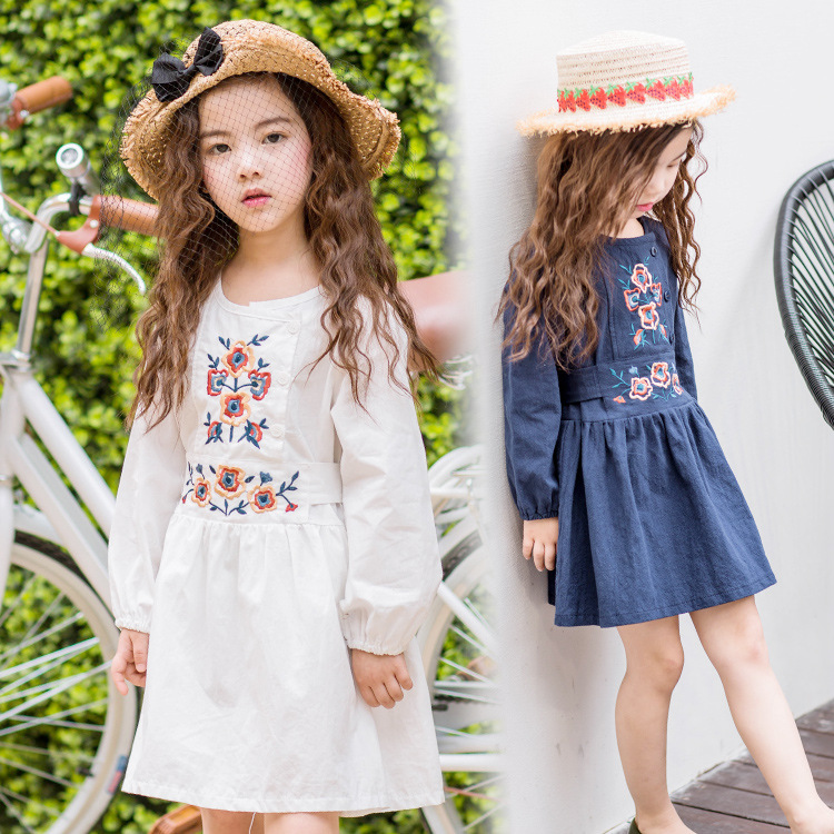 spring autumn embroidered girls dress girls long sleeves clothes children clothing vestidos children clothing bosudhso<br><br>Aliexpress