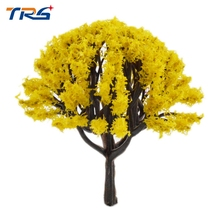Teraysun 20pcs height 4cm-8cm Yellow Color Tree Plastic Model Tree Scenery Landscape Train Model Scale Color Trees(China)