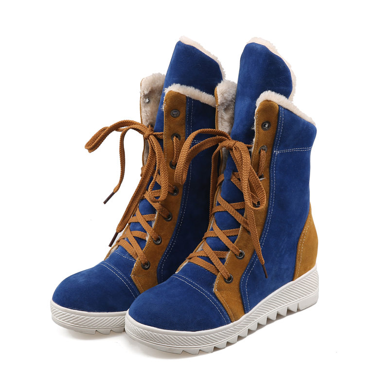 2016 Brand New Sales Winter Black Red Women Ankle Snow Boots Tan Fashion Lady Wedge Shoes Med Heel EHA69 Plus Big size 43 10<br>