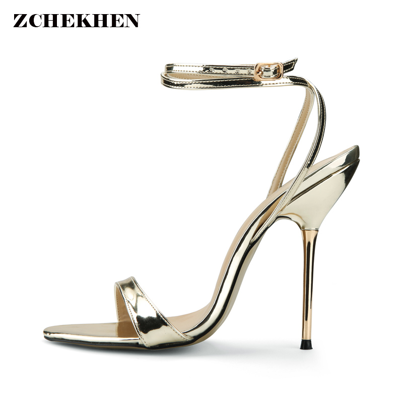 New Design Women Sandals 2018 Fashion Cross-Strap metal High Heel Sexy Gold Sliver Platform Wedding Party Shoes 3845-i2-G<br>