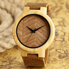 Fashion Luxury Casual Wooden Watches Made of Bamboo Wristwatch with Genuine Leather Band for Men Women relojes de madera Gift