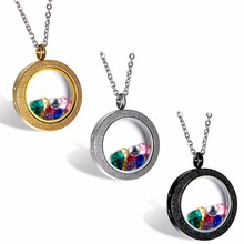 BONISKISS 316L Stainless Steel Silver Gold tone Matte Glasss Round Living Floating Charm Memory Locket Pendant Necklace(China)