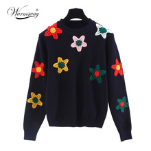 New Fashon 3D flowers Sweaters o-neck long sleeve Knitted pullover mori girl 2017 autumn New WS-039