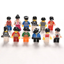 12 Pcs/lot Cute Random Figure Men People Character Minifigs Building Blocks Sets Figures Bricks Kids Toys
