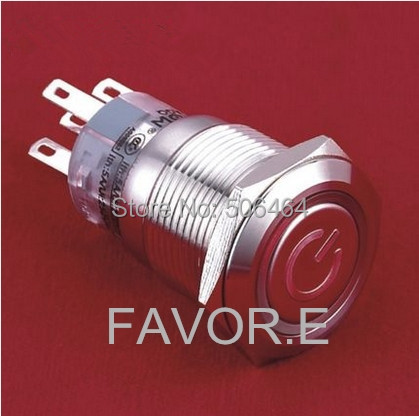 LED Stainless steel 19mm IP67 5A/250VAC 1NO 1NC POWER signs ring illuminated latching metal Push Button Switch<br><br>Aliexpress