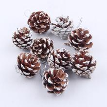 9pcs Wood Christmas Pendant Pine Cones Bauble Xmas Tree Party Hanging Decoration Ornament 2O921