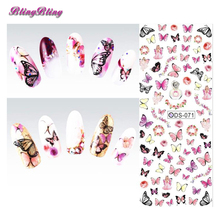 Pretty Girl Nail Art 2 sheet Water Transfer Nails Sticker Sexy Fresh Colored Butterfly Design Watermark Warps Decals(China)