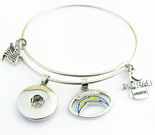 DIY Fashion Sports NFL Team San Diego Chargers Extendable Bracelets I Love Football Snap Button Bracelet Fit Women Men Jewelry