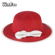WINFOX 2017 New Girl Summer Red White Pink Bow Straw Sun Fedora Hats For Kids Girls