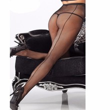 Buy Women Tights Sexy Stockings Lace Female Pantyhose Grid Sheer Nylon Fishnet Stockings Back Seam Transparent Lingerie SW141