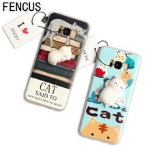 FENCUS Animal Phone Case Squishi Funny Cute 3D Cartoon Lazy Cat Cases Soft Housing Cover For Samsung Galaxy S6 S7 Edge S8 Plus(China)