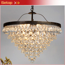 ZX Luxury Waterdrop Crystal LED Pendant Lamp Circular American Retro Lighting E14 Bulbs Fixture Sitting Room Balcony Store Lamp(China)