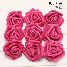 100pcs/lot Married Party Handmade Rose Bride Groom Favors Foam Wedding Decoration Hot Pink DIY Artificial Gifts Flower Supplies(China)