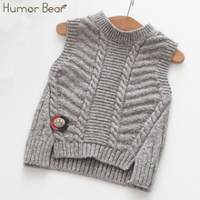 Humor Bear Baby Children's clothes 2017 New Autumn Kids Sweater Cartoon Smiling Brooch Bay Girls Knitted Wool Vest(China)