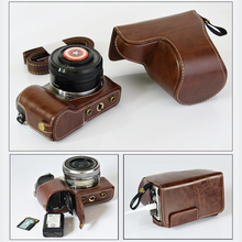 High quality Camera Bag PU Leather Case For Sony ILCE-5000 5100 A5000 A5100 16-50mm Lens Cover+Battery Bottom Opening
